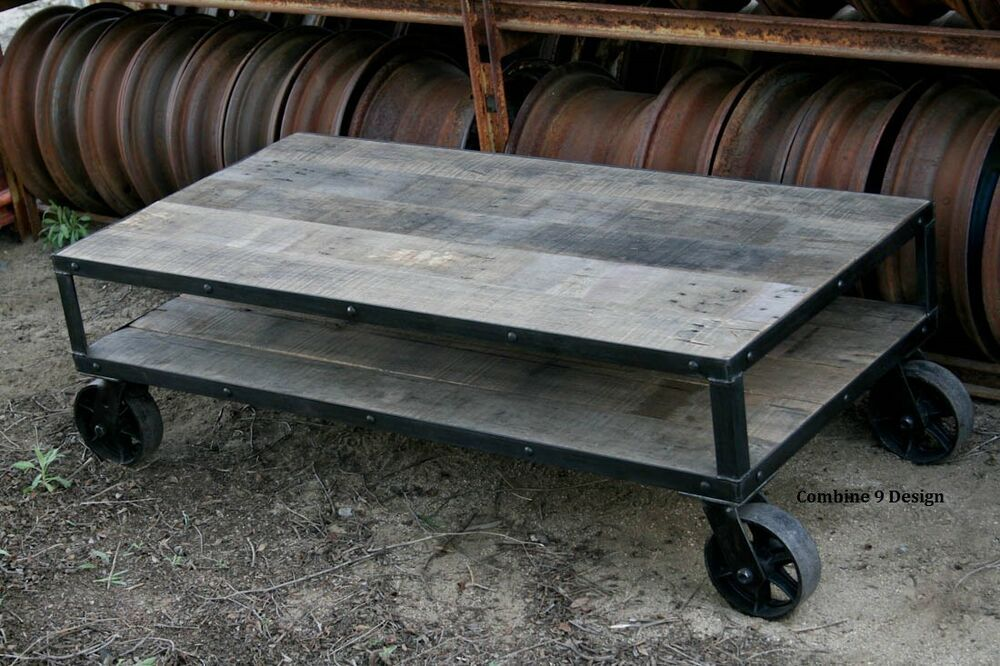Coffee Table Vintage Industrial Rustic Mid Century Modern Reclaimed Wood Ebay