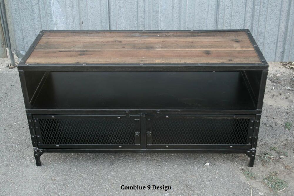 Vintage Industrial Tv Stand Reclaimed Wood Mid Century