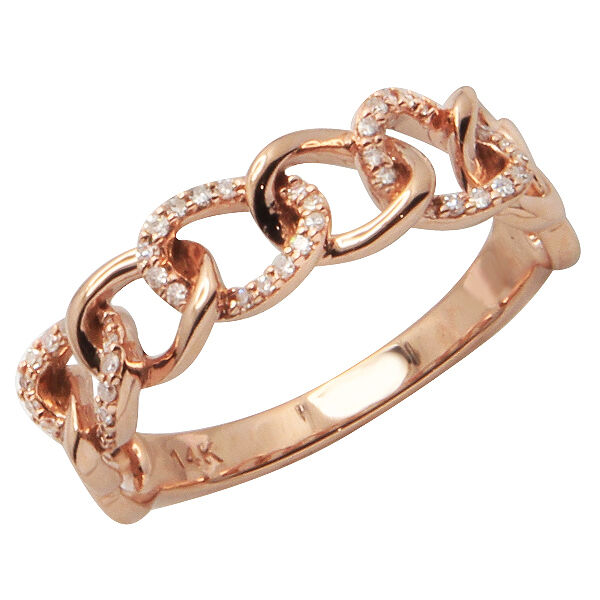 Wedding Ring On Chain Boy Or Girl: 14K ROSE GOLD PAVE DIAMOND STACK STACKABLE CHAIN LINK