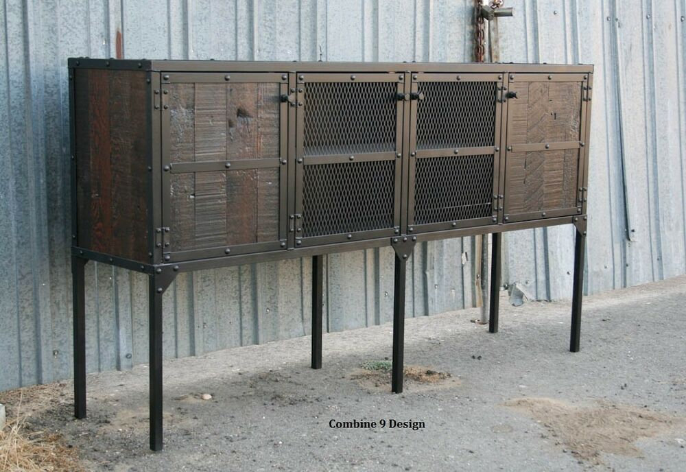 buffet sideboard vintage industrial mid century modern design reclaimed wood ebay. Black Bedroom Furniture Sets. Home Design Ideas