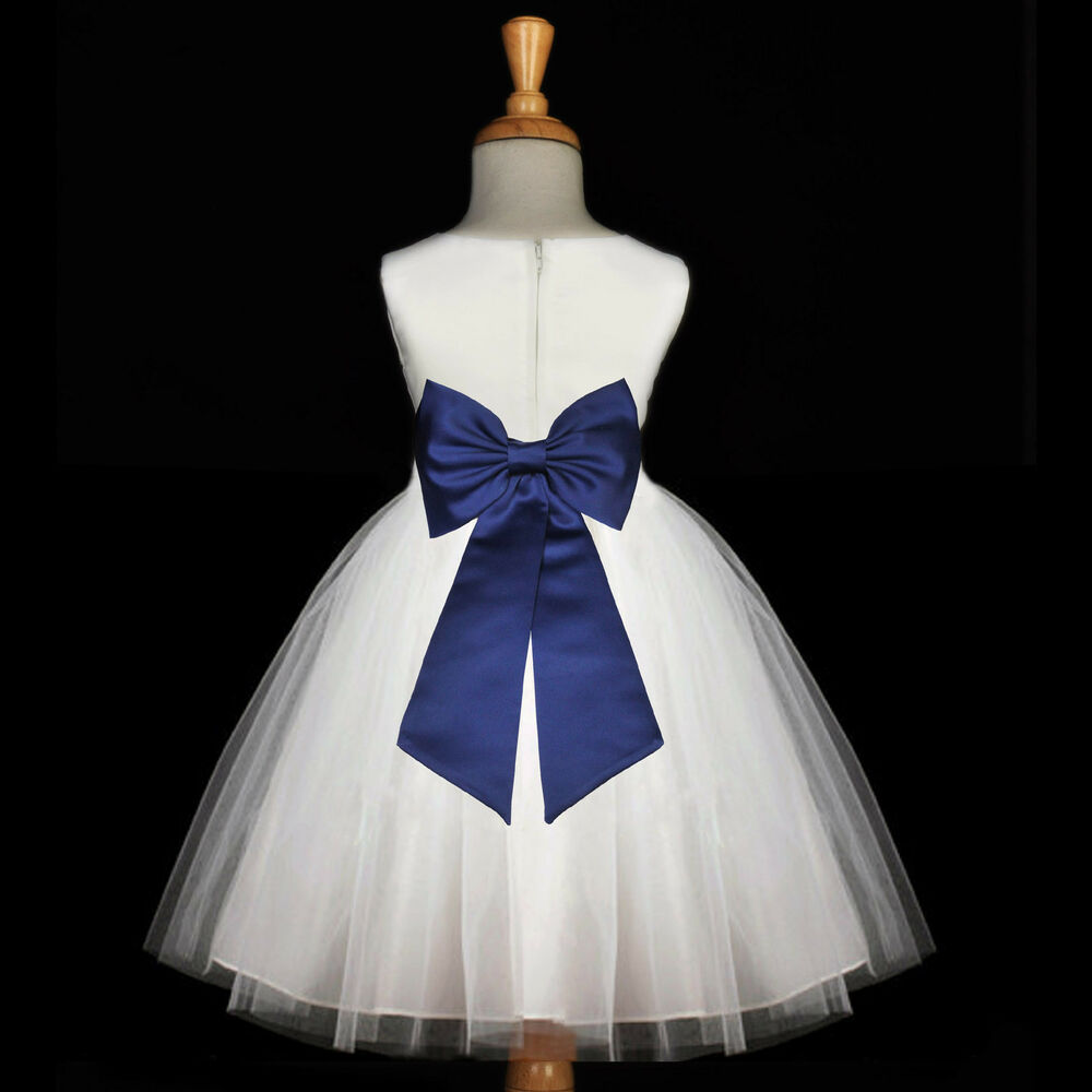 White navy blue wedding bridesmaid gown new flower girl for Navy blue and white wedding dress