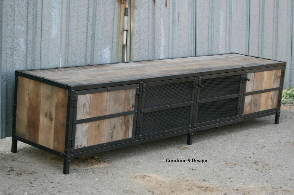 vintage industrial media console steel reclaimed wood rustic retro buffet ebay. Black Bedroom Furniture Sets. Home Design Ideas