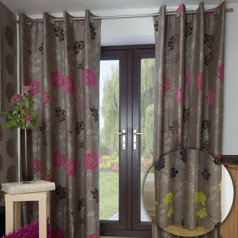Green And Brown Curtains: MODERN FLORAL DESIGN LINED EYELET BROWN JACQUARD CURTAINS