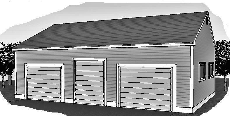 45 x 30 over sized 3 stall garage w rear access doors for Building garage plans free uk