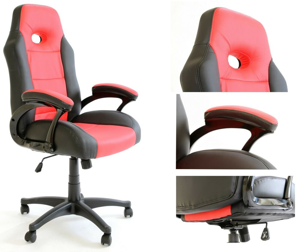 Executive COMPUTER GAMING DESK CHAIR PU LEATHER in Black&Red w/Tilt