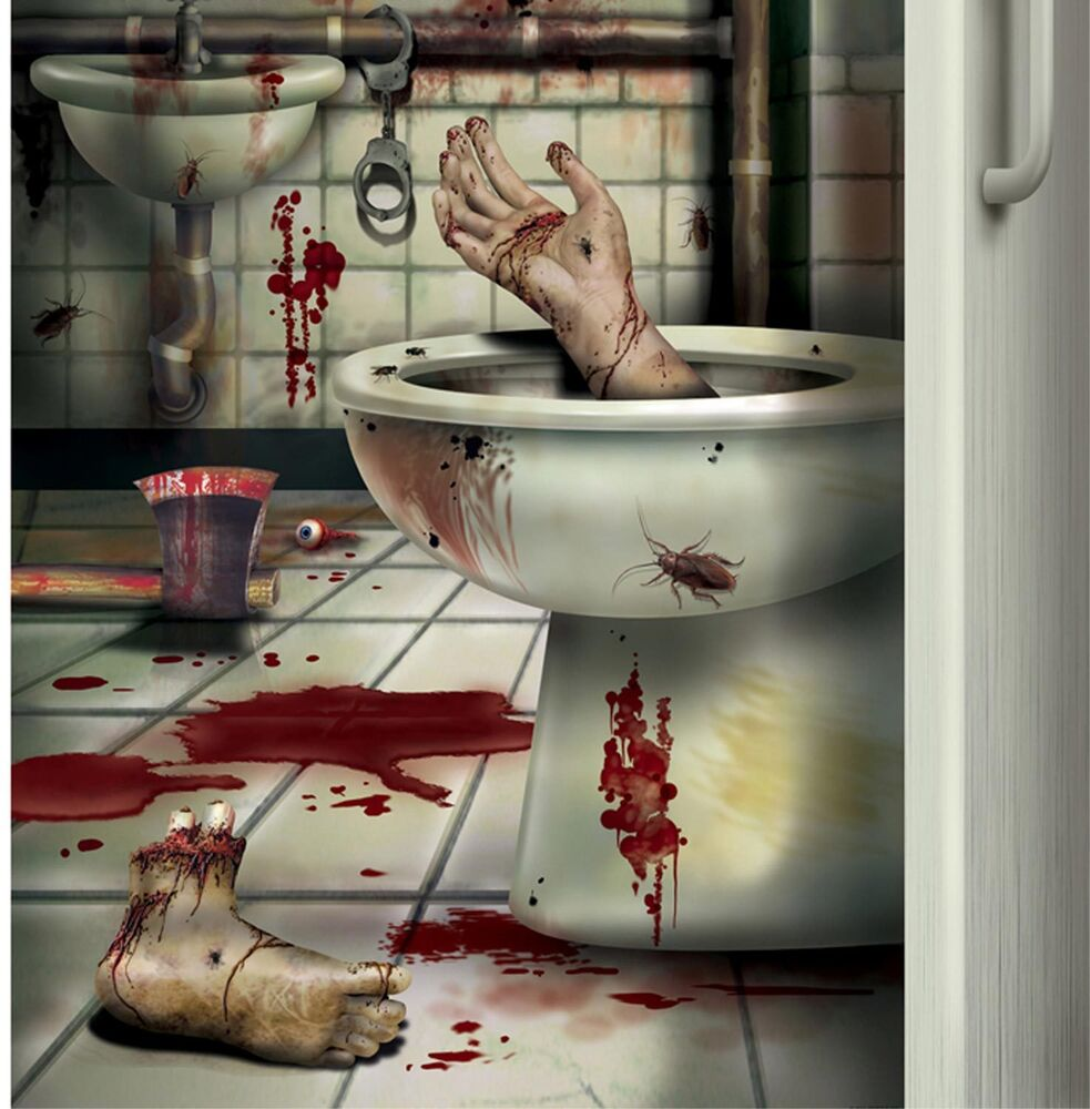 Csi bloody horror creepy crapper bathroom door cover psycho halloween decoration ebay