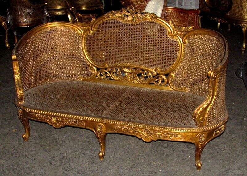 Ornate large french rococo gilded cane caned corbeille for History of canape