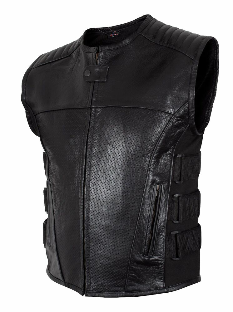 Motorcycle Biker 39 Swat 39 Style Mens Leather Vest With Two