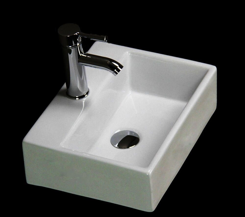 Basin Sink Bathroom Ceramic Wall Hung Countertop Cloakroom Corner ...