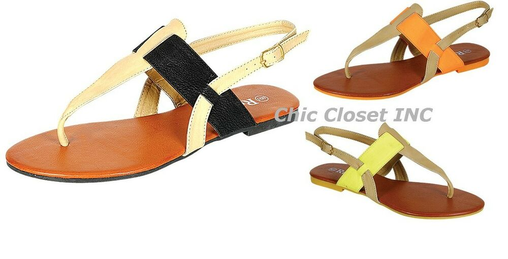 New Womens Color T Strap Low Flat Heel Gladiator Summer
