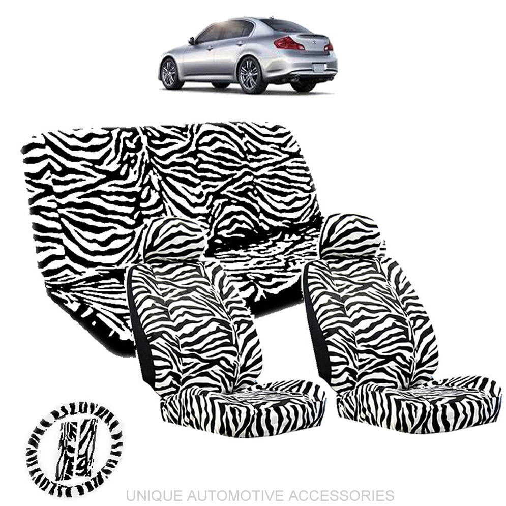 WHITE Amp BLACK ZEBRA ANIMAL PRINT LOW BACK SEAT COVERS 11PC