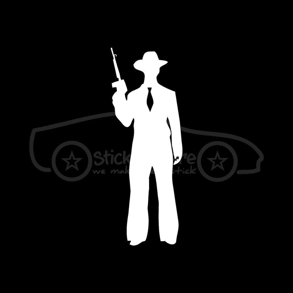 Gangster Sticker Mobster Retro Crime Decal Silhouette