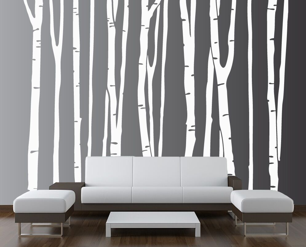 Large wall birch tree decal forest vinyl sticker removable for Birch wall mural