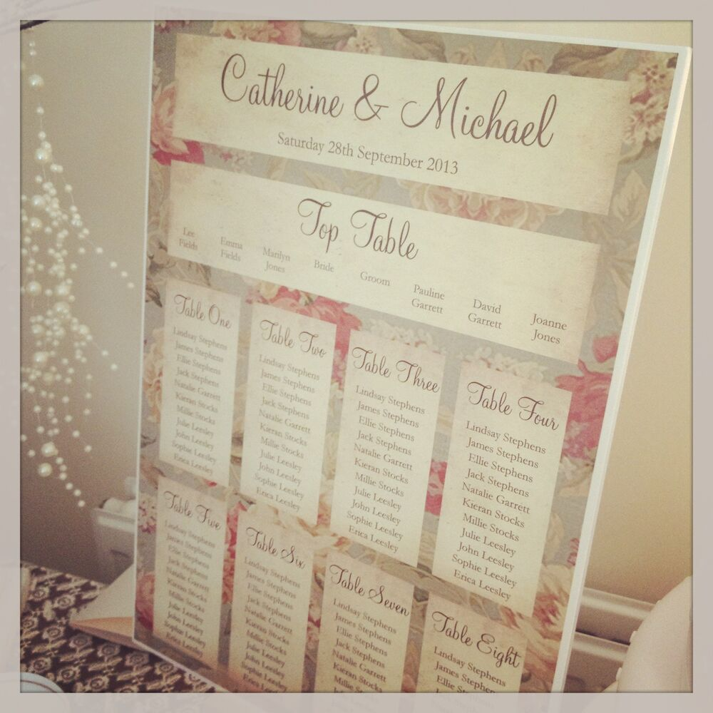 1 Floral Shabby Chic A3 Wedding Table Seating Plan -FREE