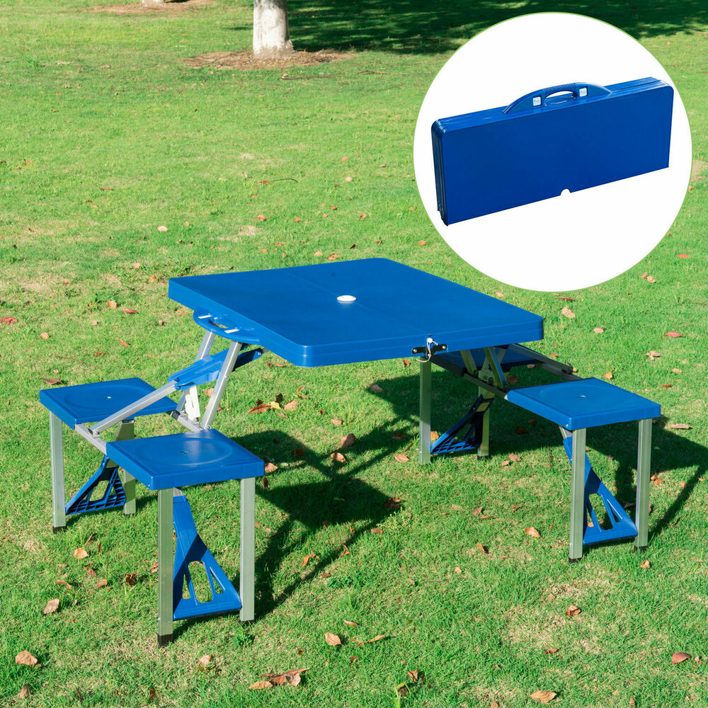 patio portable folding picnic camping table 4 seats outdoor garden w case blue ebay. Black Bedroom Furniture Sets. Home Design Ideas