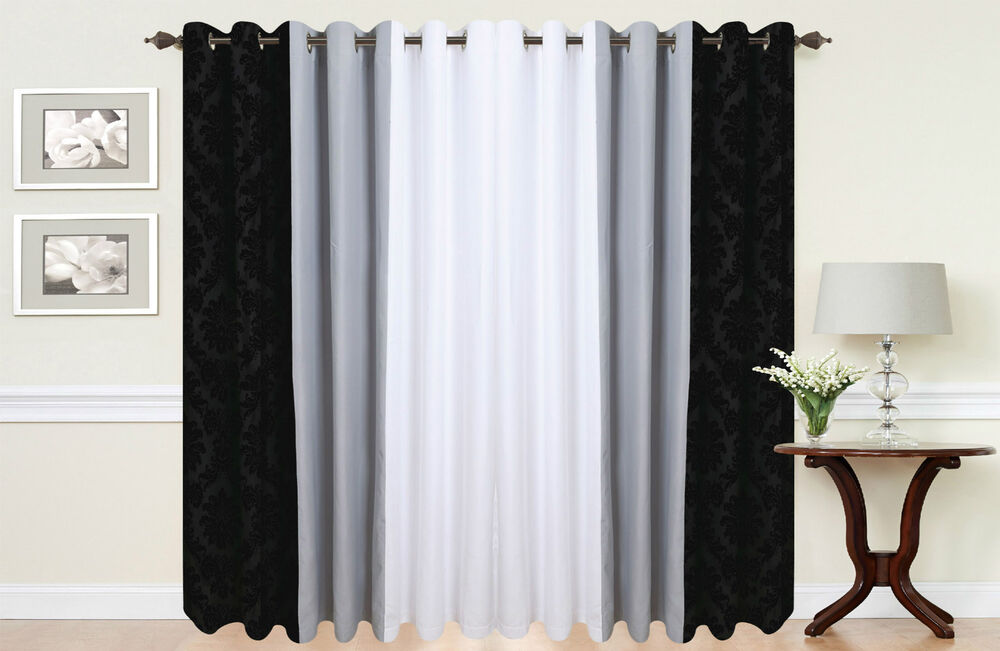 pair of damask 3 tone fully lined eyelet curtains in black white grey ebay