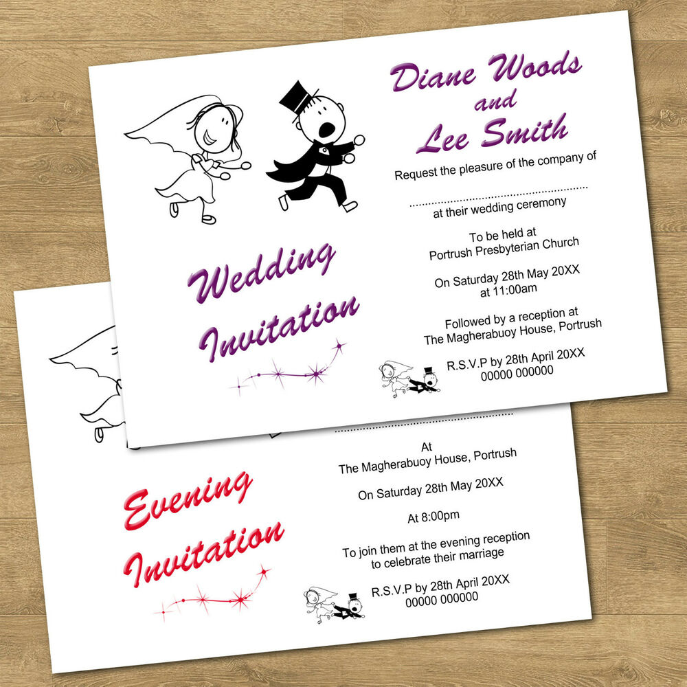 Wedding Reception Invitation Wording Funny: Personalised Day & Evening Funny Wedding Invitations RG2