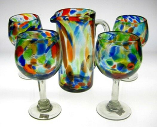 Wine Glasses And Pitcher Confetti Swirl Mexican Glass