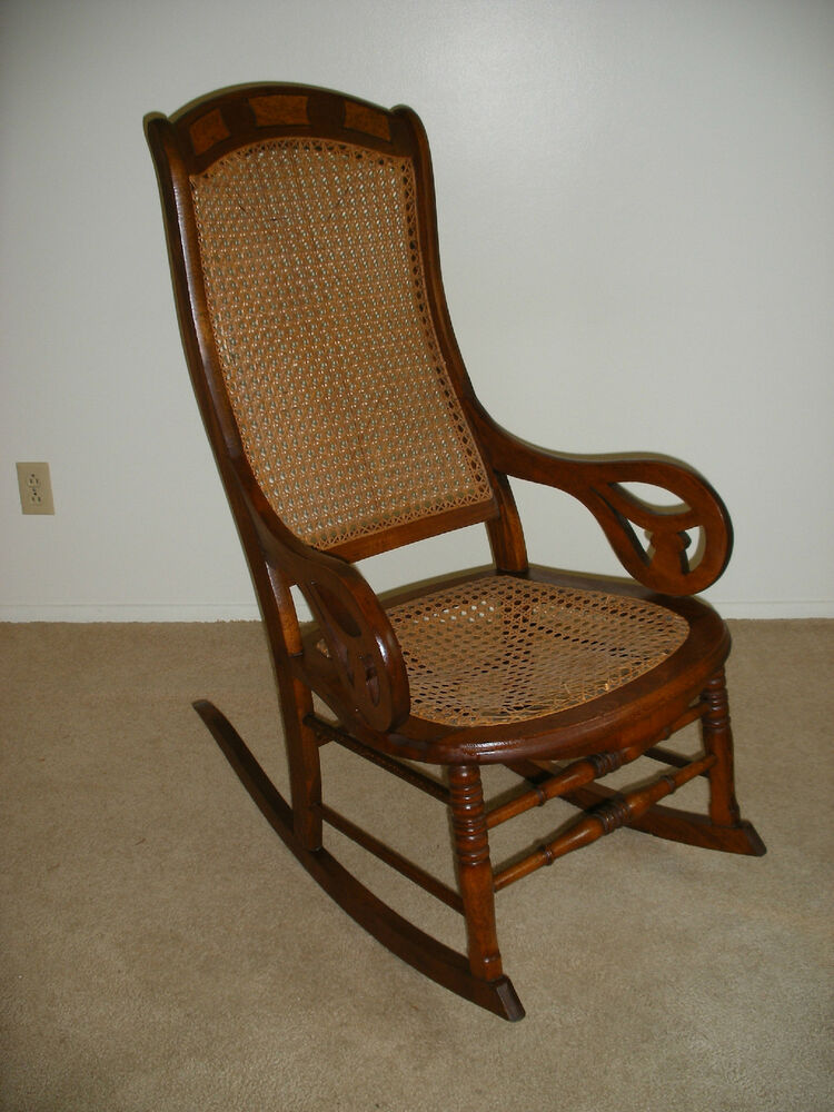 Antique Cane High Back Rocking Chair Lincoln Rocker Ebay
