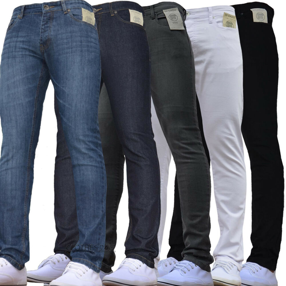bnwt new mens skinny jeans stretch slim pant retro jeans 28 30 32 34 36 38 40 ebay. Black Bedroom Furniture Sets. Home Design Ideas
