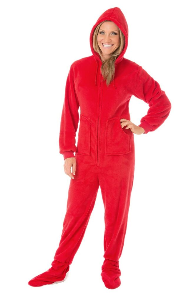 Big Feet Pjs - Red Hoodie Plush Adult Footed Pajamas | eBay