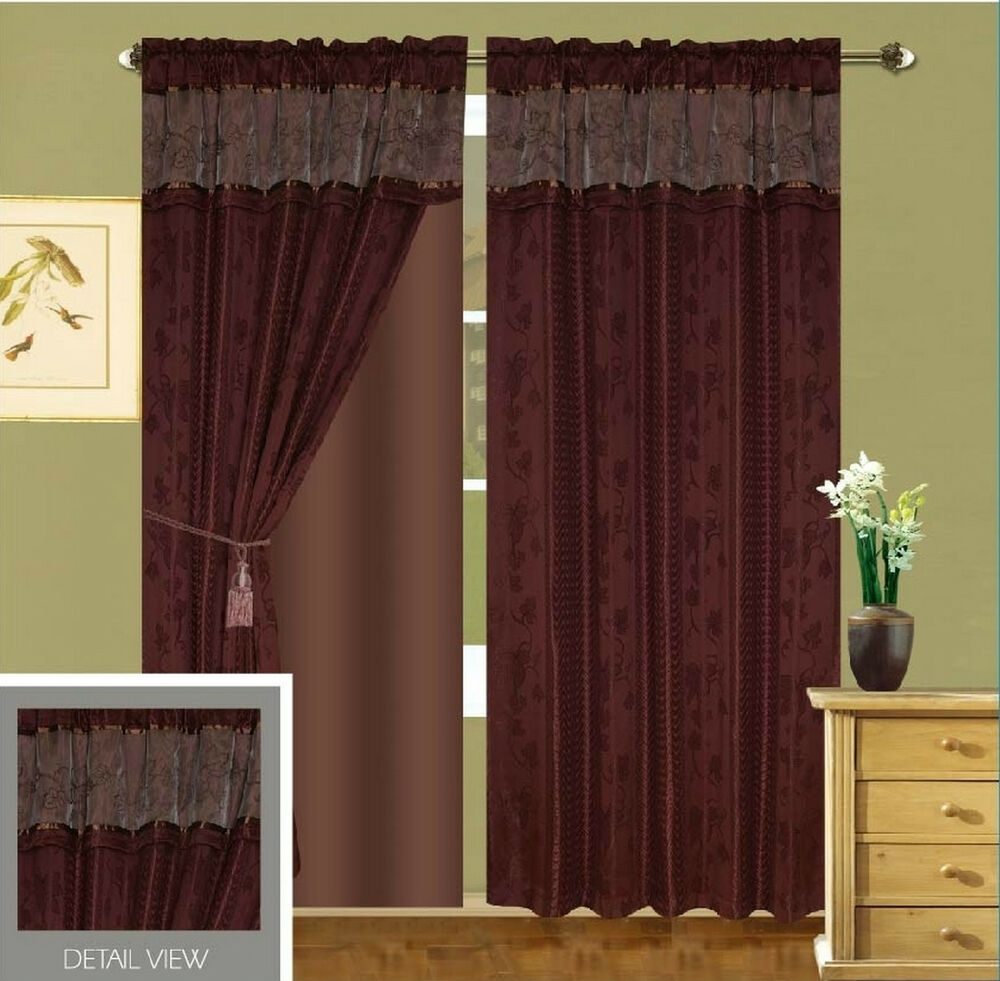 Luxury lined curtain drapes set valance sheer window Luxury window treatments