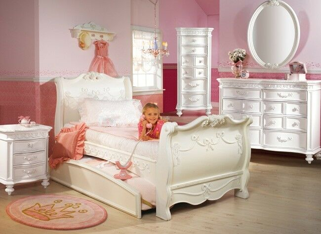 disney princess 5 piece full sleigh bed bedroom set 11440 | s l1000