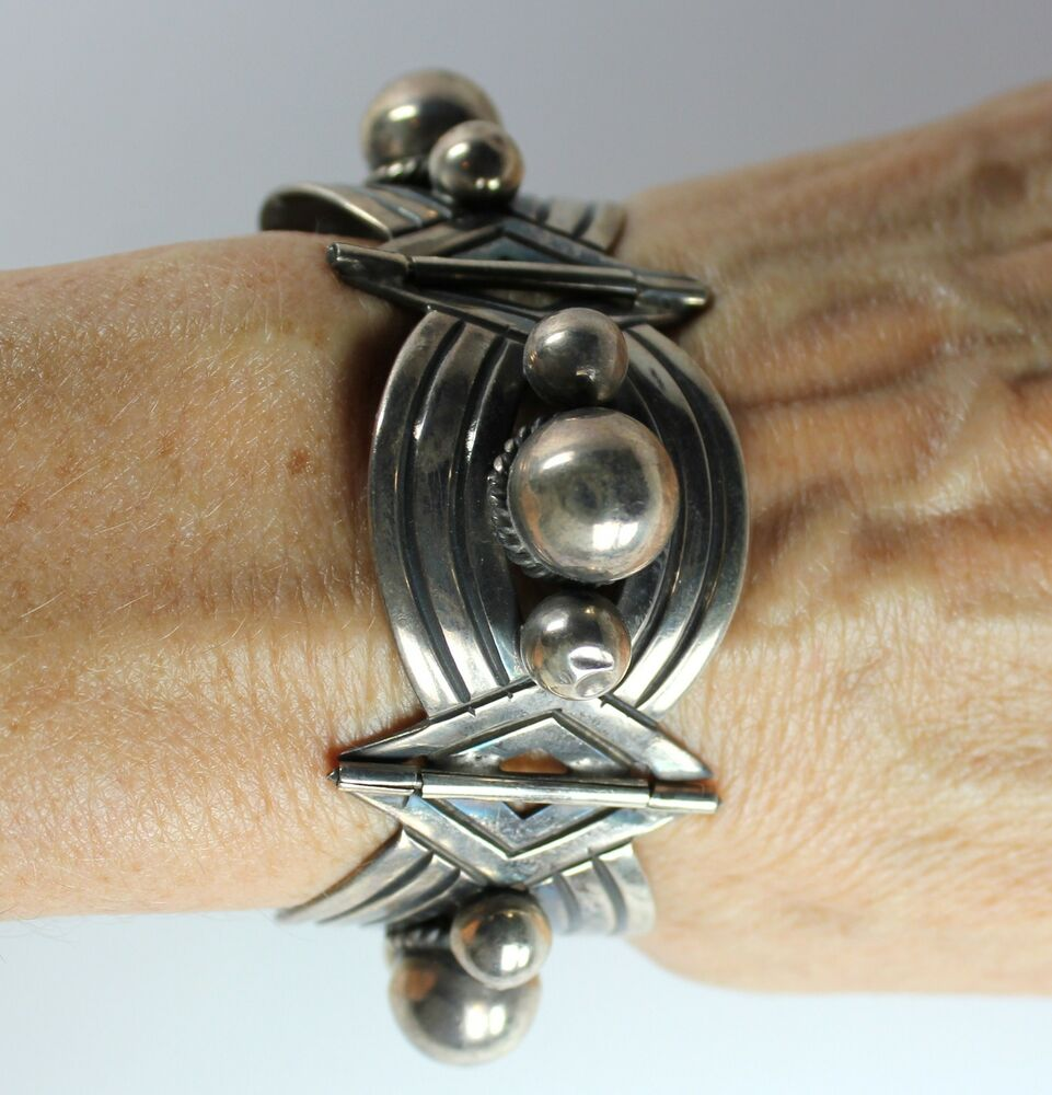 Vintage Modernist Early Mexico Sterling Silver 4 Link ...