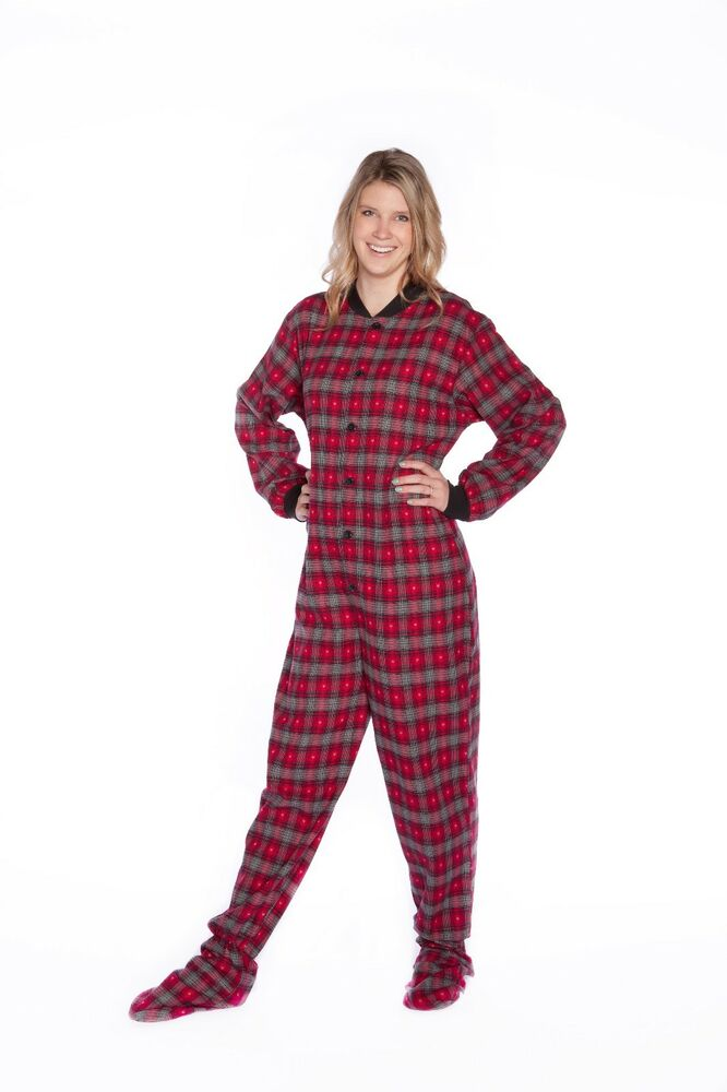 8674c9502 Big Feet Pjs - Red and Black with Gray Hearts Adult Footed Pajamas
