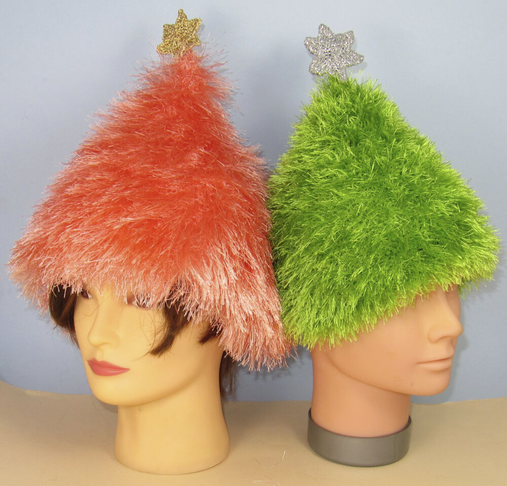 Knitted Christmas Tree Hat Pattern : PRINTED KNITTING INSTRUCTIONS - SIMPLE EYELASH CHRISTMAS TREE BEANIE HAT PATT...