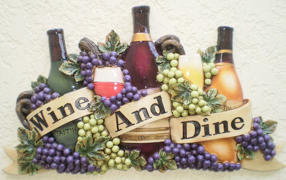 """new """"wine and dine"""" bottles decorative wall plaque wine grapes kitchen decor 