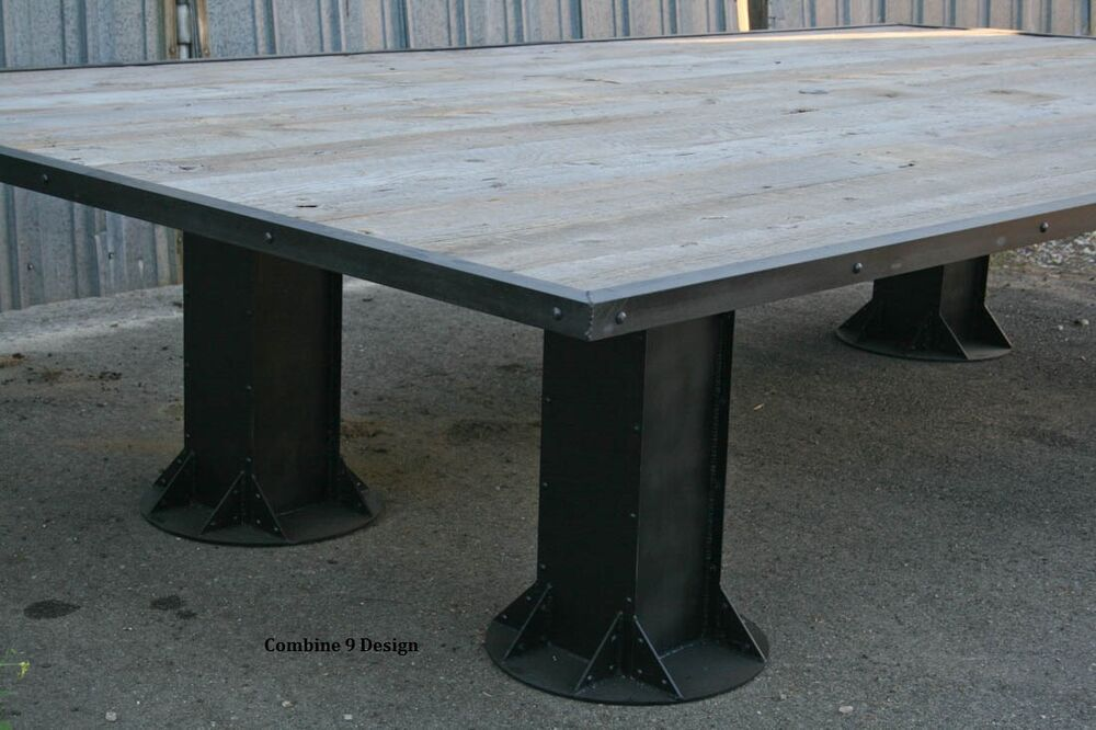 Industrial conference table reclaimed wood urban decor board room