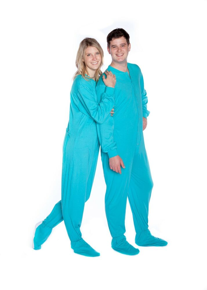 Big Feet Pjs - Turquoise Jersey Knit - Adult Footed ...