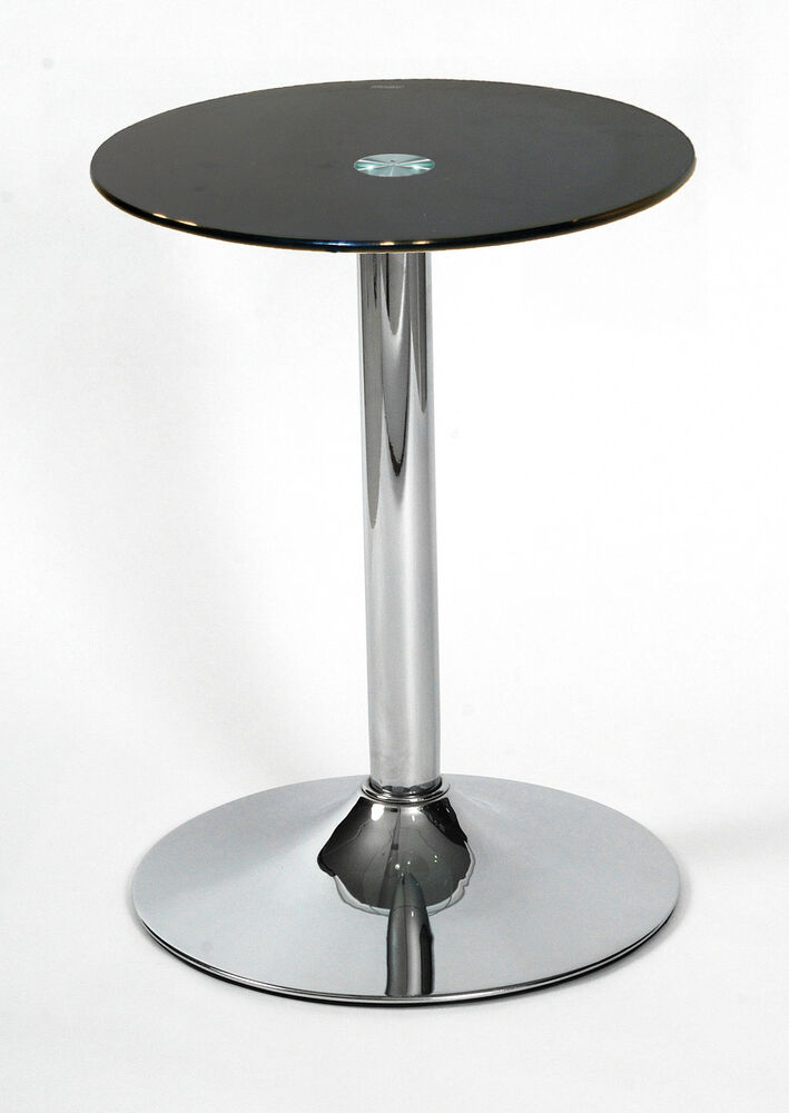 Drew Black Glass With Chrome Base Lamp Coffee Side End Table Ebay