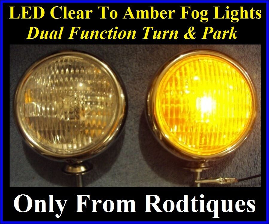 LED Clear To Amber Turn Signal / Park Driving Chrome Fog