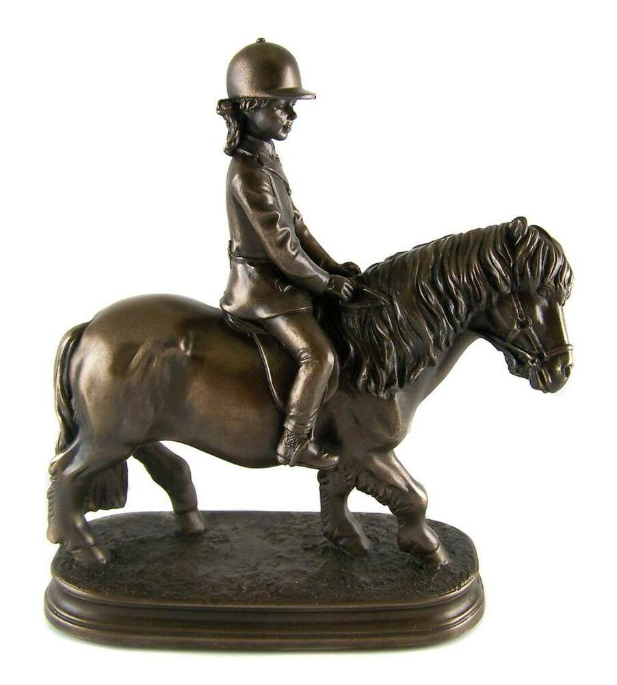 Bronzed pony girl rider statue sculpture figurine Eba home interior figurines