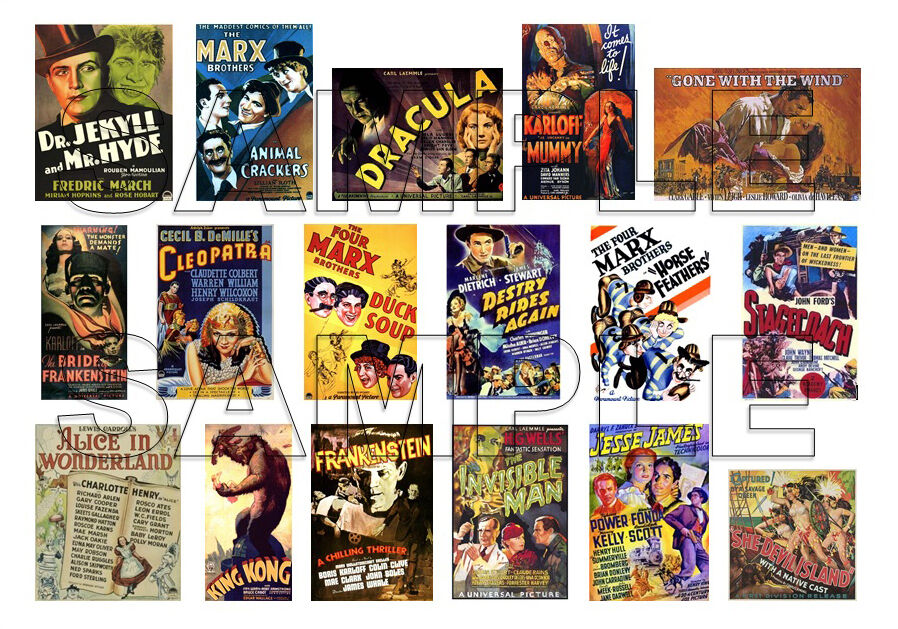 17 vintage 1930s movie posters - 1 24  1 25 scale