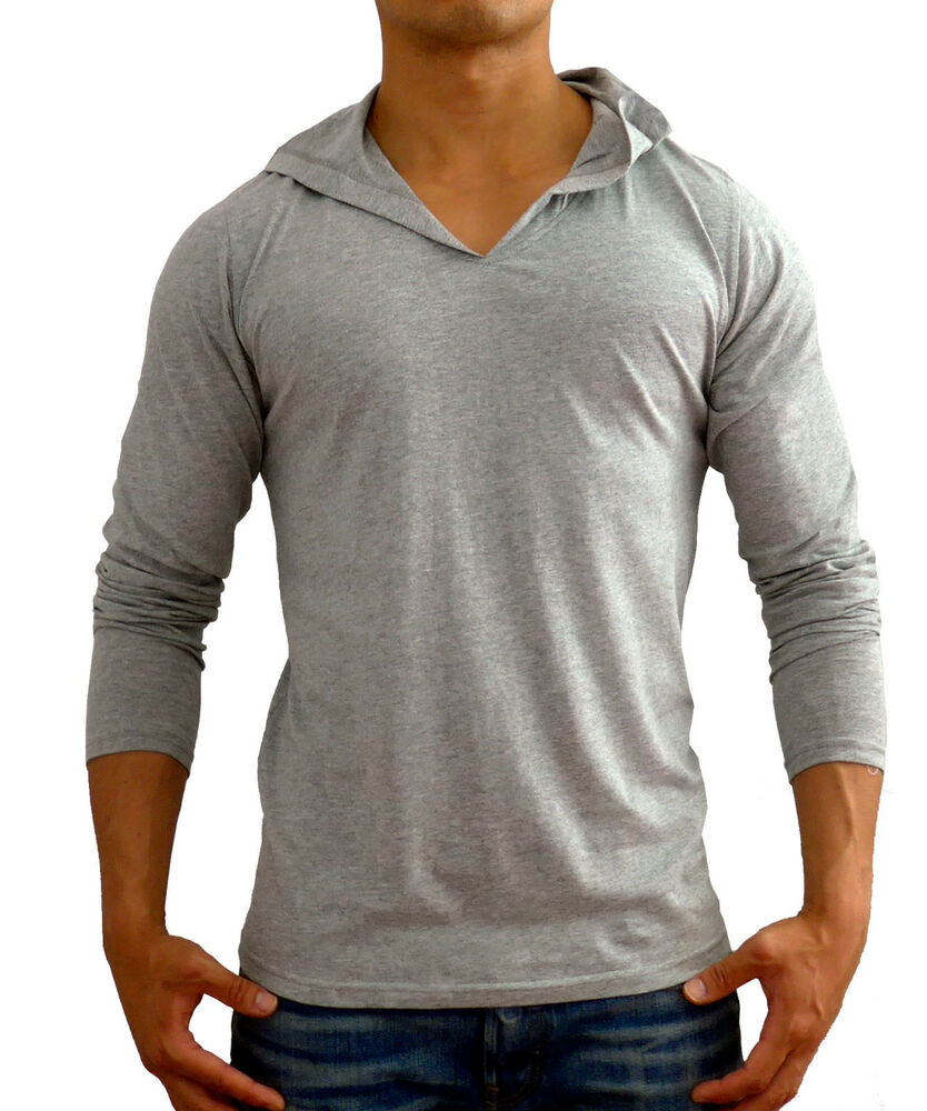 New mens plain grey hooded long sleeve t shirt v neck slim for Mens slim fit long sleeve t shirts
