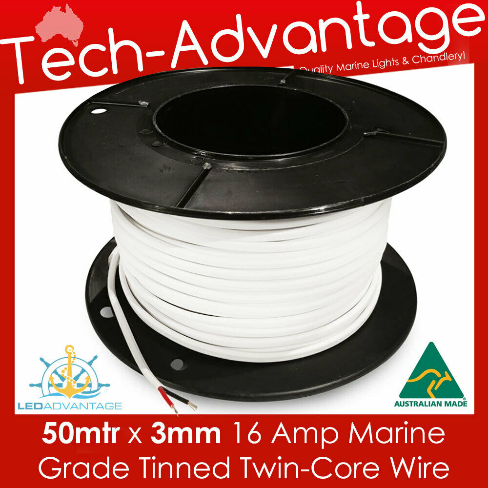 50MT x 3mm 16a TINNED SHEATH TWIN WIRE/ELECTRICAL MARINE BOAT CABLE ...