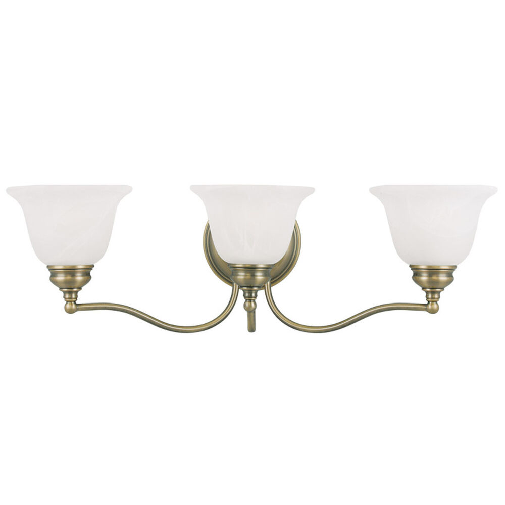 3 l essex livex antique brass bathroom vanity lighting - Images of bathroom vanity lighting ...