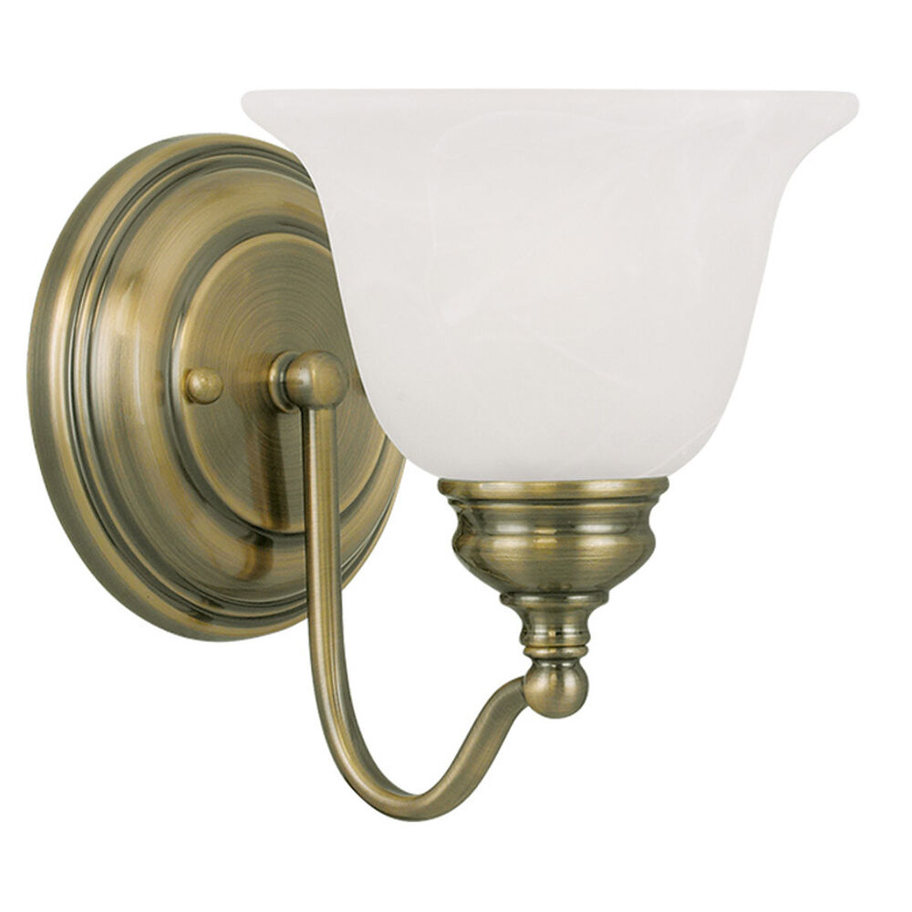1 light livex essex antique brass bathroom vanity lighting for Vintage bathroom lighting fixtures