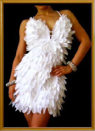 White Feather Fancy Dance Salsa Diva Snow Latin Dress Ebay