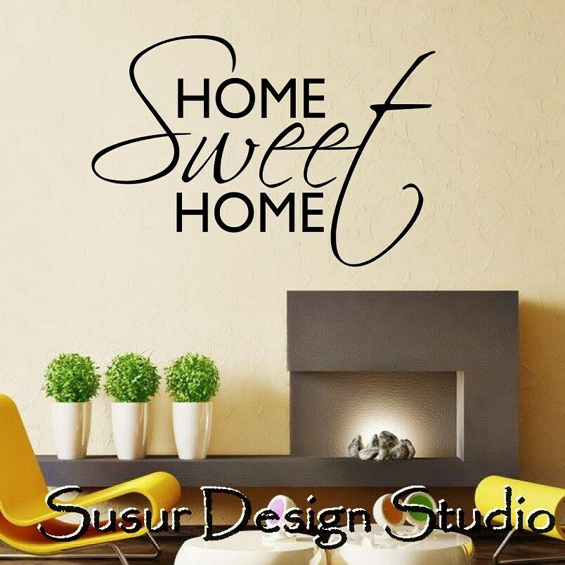 Wall art quote home sweet home wall sticker decal home for Home decorations quotes