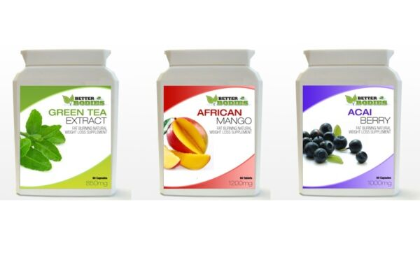 60 Acai Berry 60 Green Tea Extract 60 African Mango Weight Loss Capsules Bottle