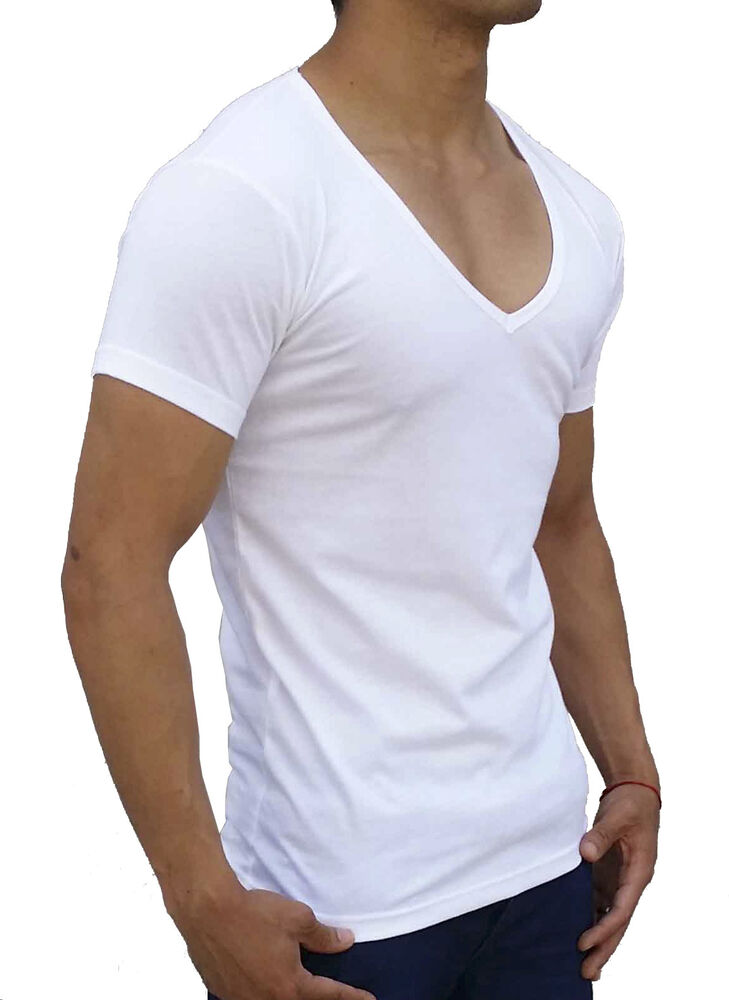 New Mens Plain White Deep V Neck T Shirt Slim Fit Casual S