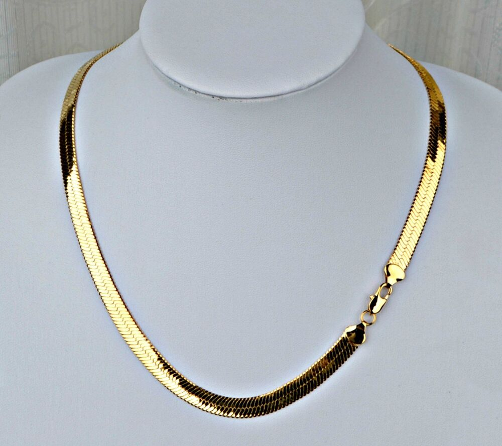 NEW PVD BONDED 18k GOLD Men\'s & Woman\'s 6½mm HERRINGBONE CHAIN ...