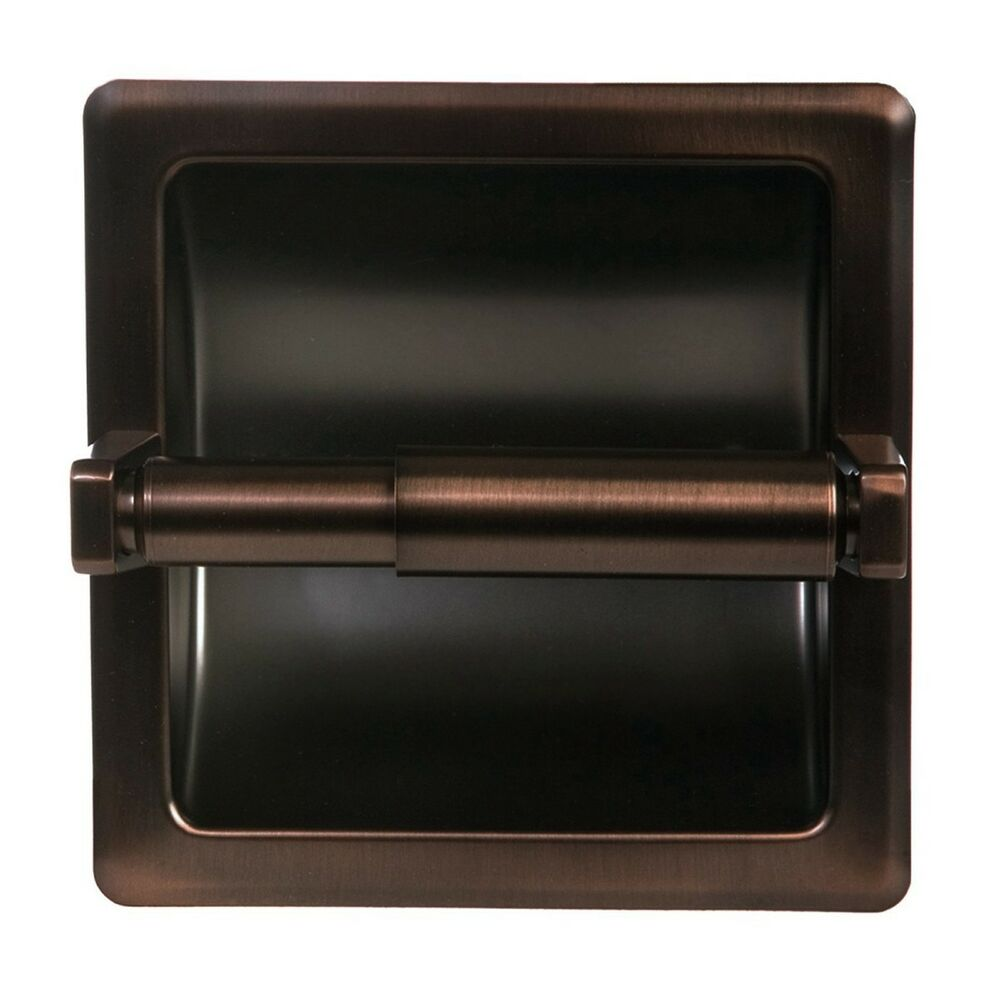 oil rubbed bronze bathroom mounted recessed toilet paper holder bath accessory ebay. Black Bedroom Furniture Sets. Home Design Ideas