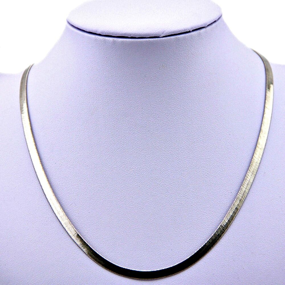 White Gold Chain Bracelet: Men's & Women's 4.5mm 18k WHITE GOLD Plated HERRINGBONE