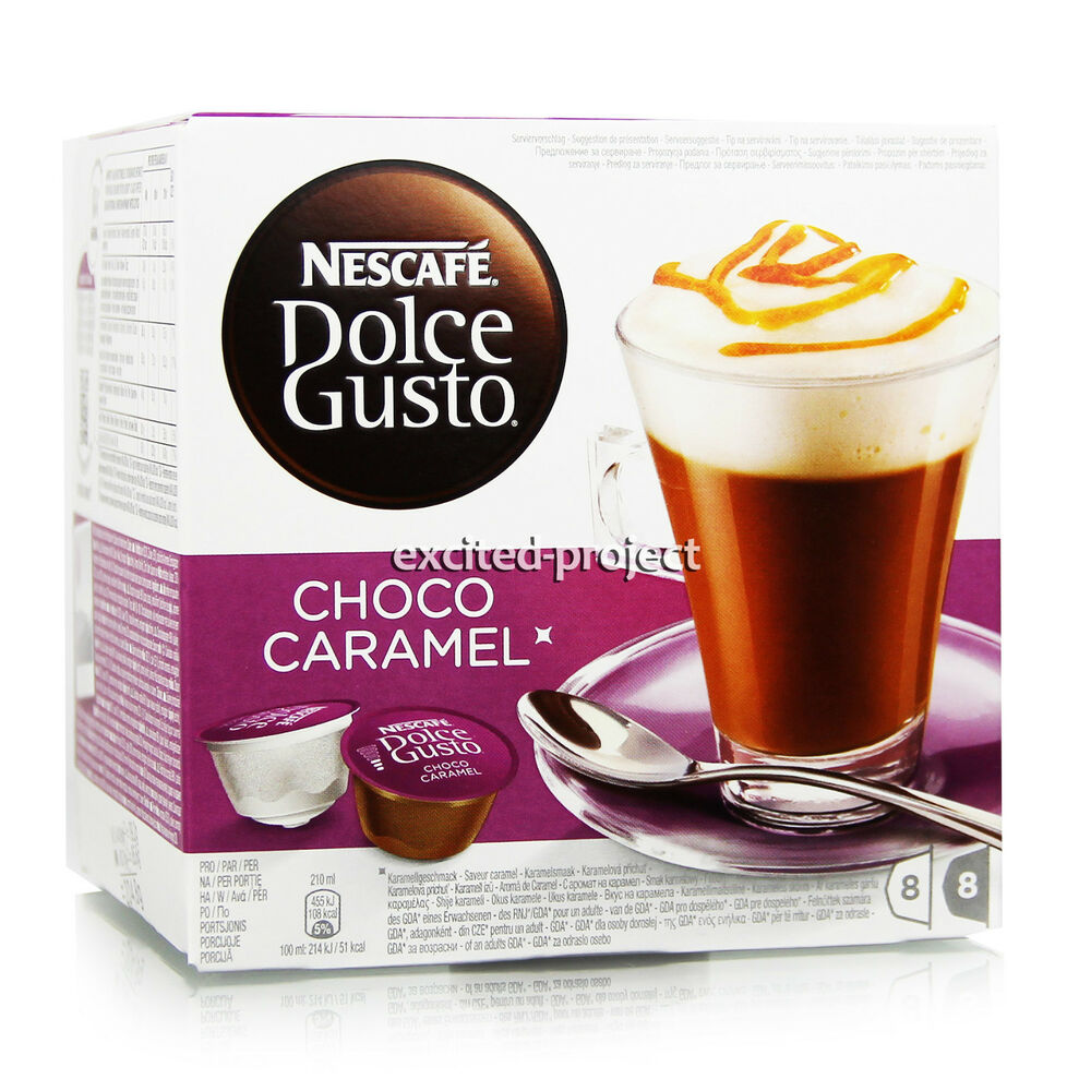 nescafe dolce gusto choco caramel capsules hot chocolate caramel drink ebay. Black Bedroom Furniture Sets. Home Design Ideas