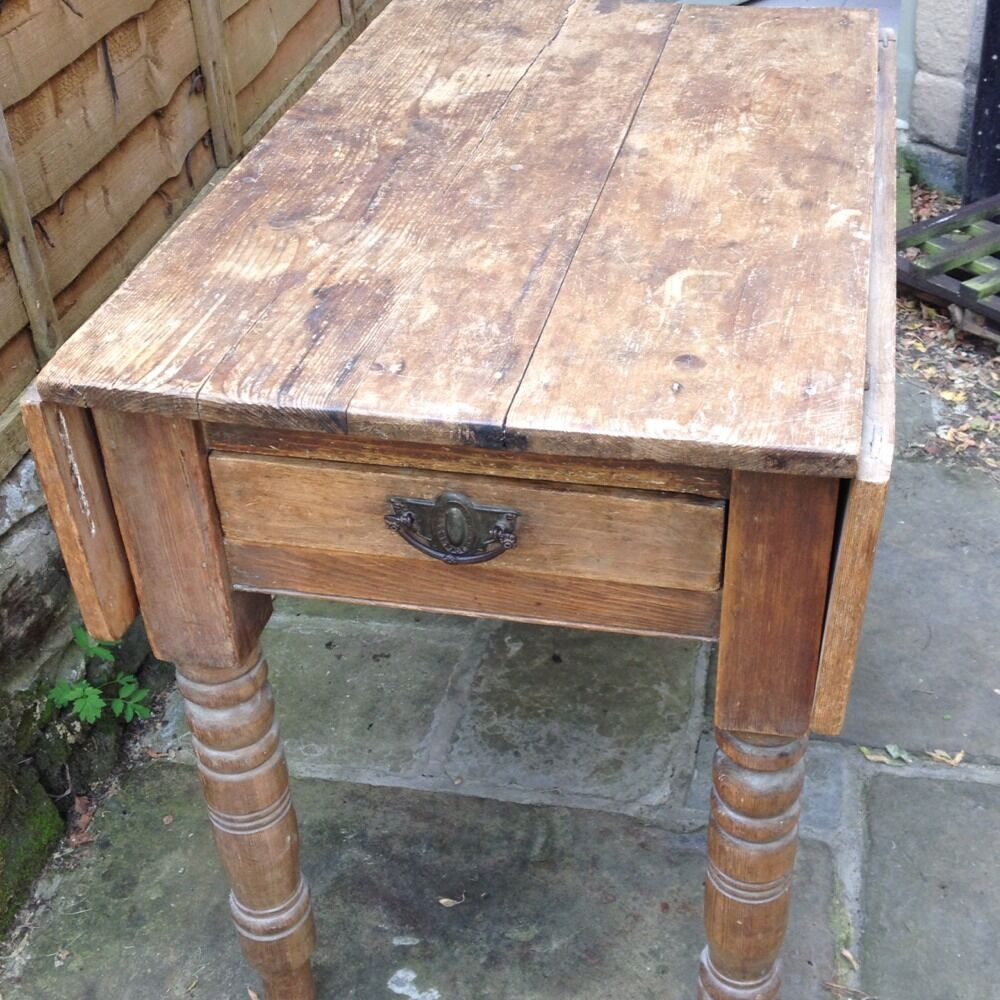 Vintage Antique Pine Rustic Kitchen Table Drop Leaf With Drawer Ebay